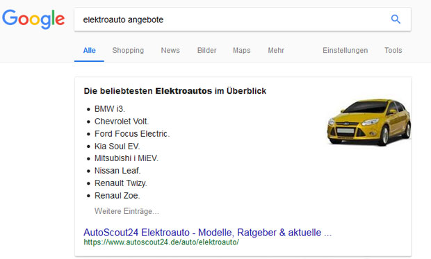 Featured Snippets Elektroautos